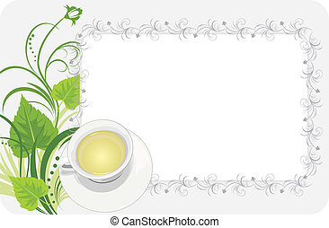 Cup on the floral background