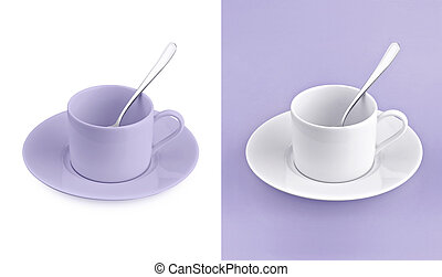 Cup on white & purple background