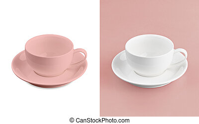 Cup on white & red background