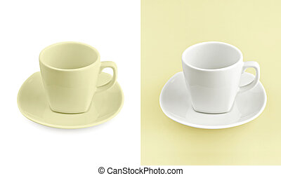 Cup on white & yellow background