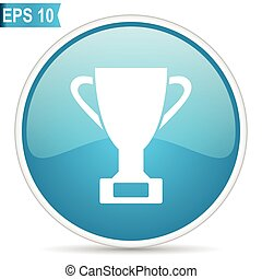 cup prize success victory award button blue glossy round vector icon on white background