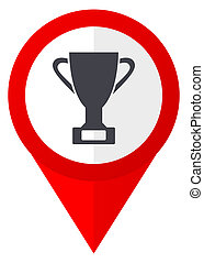Cup red web pointer icon. Webdesign button on white background.