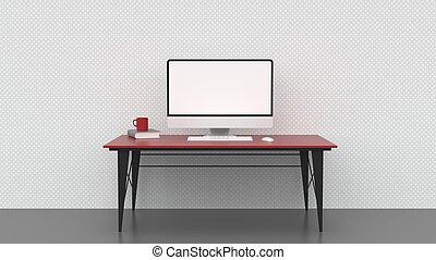 cup., schermo, coffe, computer desktop, pulito, vuoto, illustrating., libro, 3d