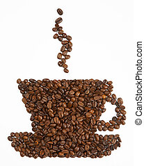 Cup shape made from coffee beans on white background