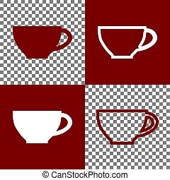 Cup sign. Vector. Bordo and white icons and line icons on chess board with transparent background.
