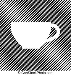 Cup sign. Vector. Icon. Hole in moire background.