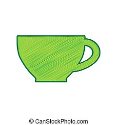 Cup sign. Vector. Lemon scribble icon on white background. Isolated