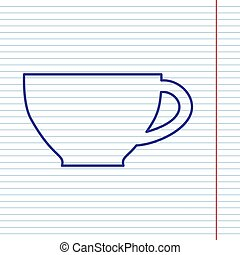 Cup sign. Vector. Navy line icon on notebook paper as background with red line for field.