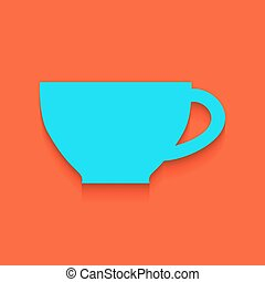 Cup sign. Vector. Whitish icon on brick wall as background.