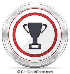 Cup silver metallic chrome border round web icon on white background