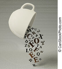 cup - white cup and many letters on grey