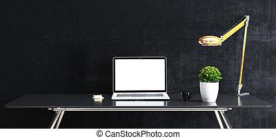 cup;, su, stare in piedi, beffare, tavola, adesivo, fronte, spazio, pianta, tastiera, mouse;, lavoro, concreto, laptop, nero, parete