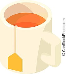 Cup tea icon, isometric 3d style