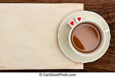 cup tea note blank paper old table sugar hearts
