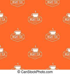Cup tea pattern vector orange