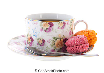 Cup tea with macaroons