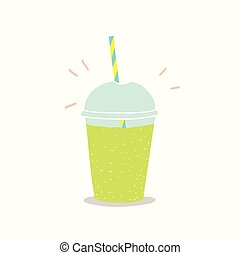 Cup to go with green smoothie. Vector hand drawn ...