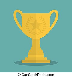 Cup trophy champion icon gold. Vector illustration