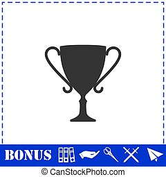Cup trophy icon flat