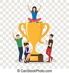 Cup trophy successful winner flat business success concept...