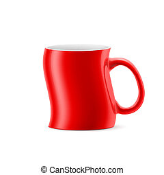 Cup - Red curve cup of something stay on white background