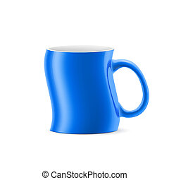 Cup - Blue curve a cup of something stay on white background