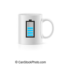 Cup with drawn indicator, stay on white background