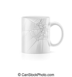 Cup - White cup broken with something stay on white...