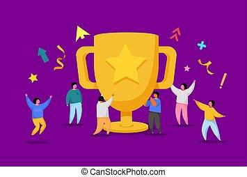 cup., vieren, team, zakelijk, trophy., mensen, prestatie, groot, werkmannen , kantoor, concept., prijs, karakters, gouden, succes, plat