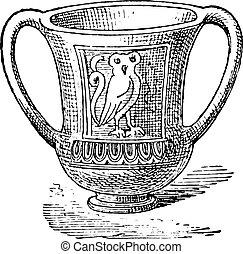 Cup, vintage engraving.