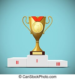 Cup with a gold medal on the podium. Award winner. Stock vector