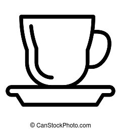 Cup with a saucer line icon. Mug and saucer vector illustration isolated on white. Tea cup outline style design, designed for web and app. Eps 10.