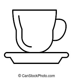 Cup with a saucer thin line icon. Mug and saucer vector illustration isolated on white. Tea cup outline style design, designed for web and app. Eps 10.
