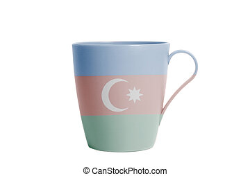 Cup with Azerbaijan flag isolated on white background
