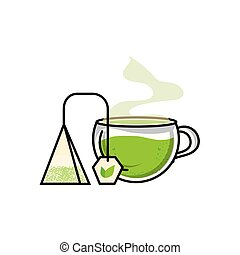 cup with bag tea herb isolated icon