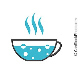 Cup with boiling water icon isolated on white