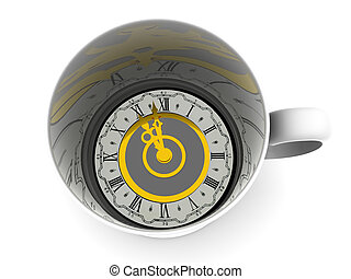 Cup with clock. Eleven o\'clock 3d