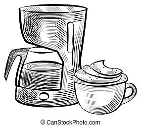 Cup with Coffee and Machine for Brewing Drink