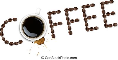 Cup With Coffee And Plate And Coffee Grain And Blots White Background