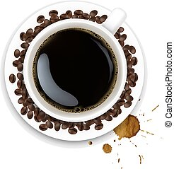 Cup With Coffee And Plate And Coffee Grain And Blots