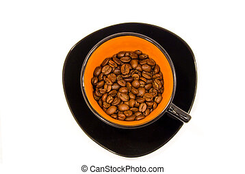 cup with coffee beans isolated on white