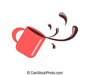 Cup with Coffee Spilling, Vector Illustration