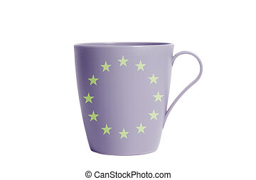 Cup with Flag of European Union.