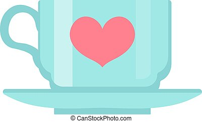Cup with heart, flat design. Isolated on white background. Vector illustration, clip art.