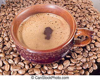 hot coffee - Cup with hot coffee and coffee grains