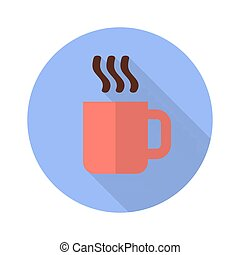 Cup with hot drink flat icon with shadow