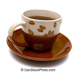 Cup with hot drink on a white background. Isolation