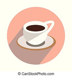 Cup with hot tea on white background flat