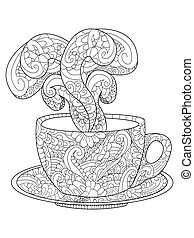 Cup with kofem, tea and steam vector illustration - Zen art...