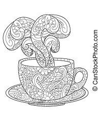 Cup with kofem, tea and steam vector illustration - Zen art...